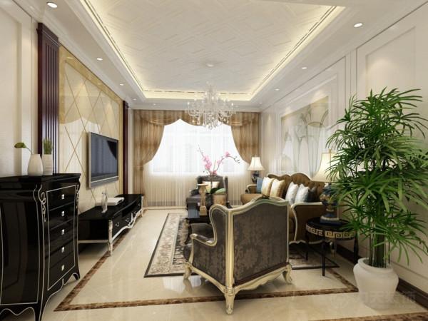 客厅电视背景墙采用护墙板与大理石搭配中间以木质柱体隔开,中间用上图片
