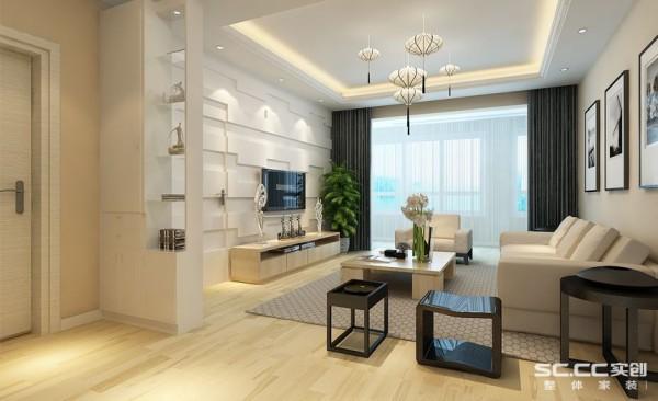 客厅设计: 电视背景墙简约的线条刻划造型,层次分明,营造出一种特别的光影效果,隐形门的设计,美观切实用性强。简约的沙发背景墙,以黑白挂画做以点缀,整个空间简约大气又不失时尚