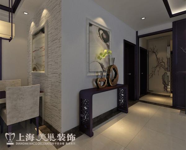 锦艺国际华都装修新中式118平3室2厅案例效果图——墙面布局,客卧侧面墙做装饰墙,用壁画做端景墙。