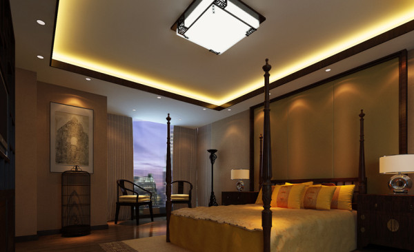 主卧室和书房连为一体,是的空间更加宽阔,卧室里选用的家具体现出中式的韵味,在靠近窗户附近设置了休闲桌椅,可在休息之余欣赏城市的夜景