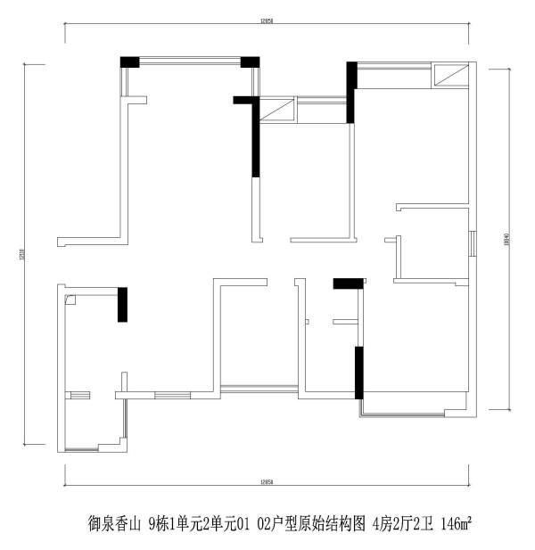 御泉香山 9栋1单元2单元01 02户型原始结构图 4房2厅2卫 146m²