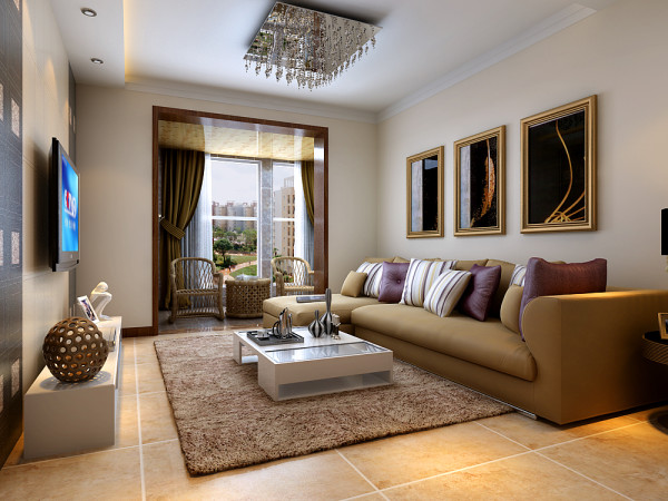 客厅的整体色彩,以电视墙、沙发、地面的色彩进行渐变,整个空间更具层次感。
