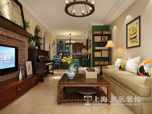 逸品香山89平2室2厅美式乡村装修效果图--客餐厅