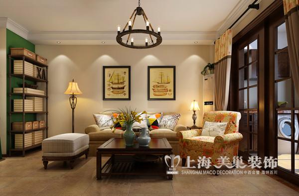 逸品香山89平两室两厅美式乡村装修效果图--沙发背景墙