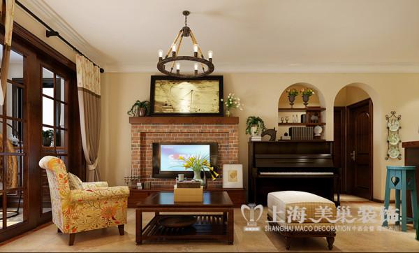 逸品香山22号楼89平两室两厅美式乡村装修效果图--电视背景墙