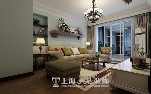 蓝宝湾2室2厅美式乡村风格装修方案---沙发背景墙装修效果图