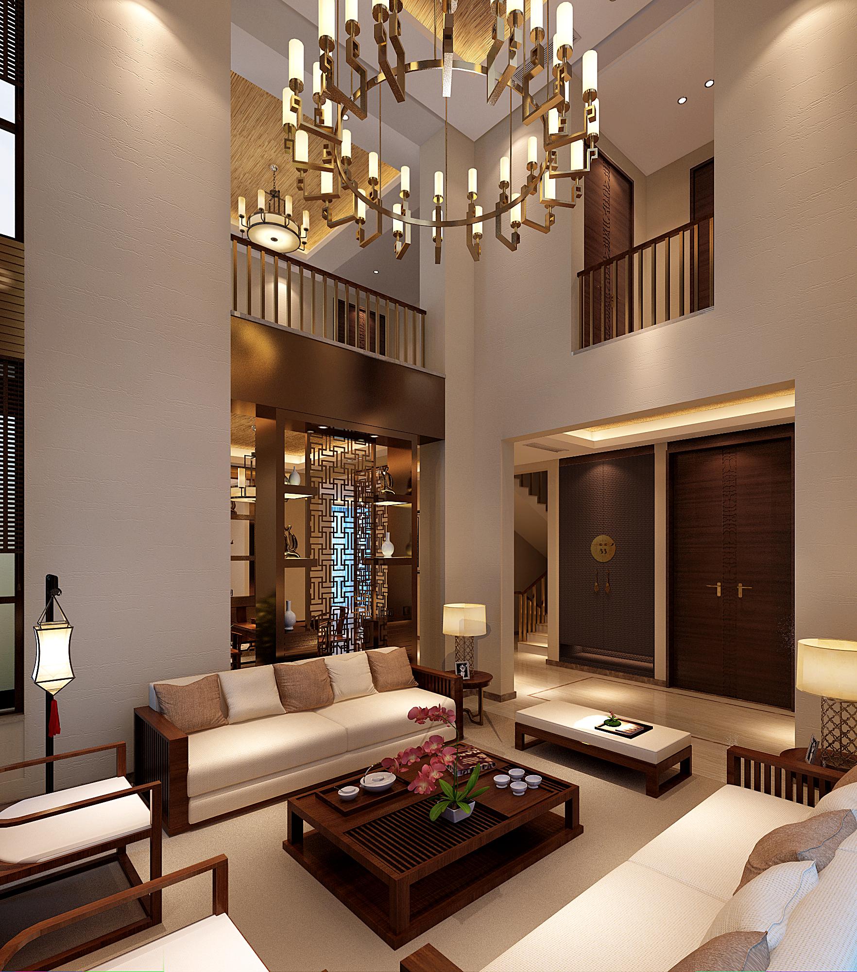 简约新中式中式别墅客厅装修效果图片_装修美图-新浪图片