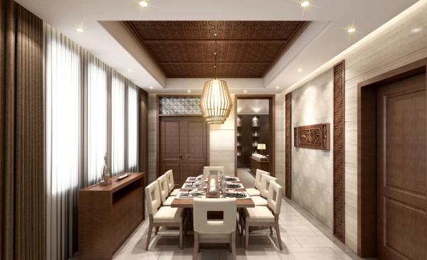 餐厅的布局时尚简约但是透露着浓浓的中国风。在吊顶上用厚重的木格与实木的线条框架出古代宫殿的感觉,墙面上的线条与壁纸的结合让画面更加生动。