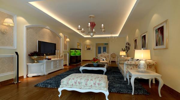 协调的电视背景墙造型及配套的墙面壁纸,使得客厅区域整体大气!