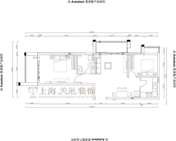 升龙又一城90平两室两厅简欧装修案例户型平面图——美巢装饰