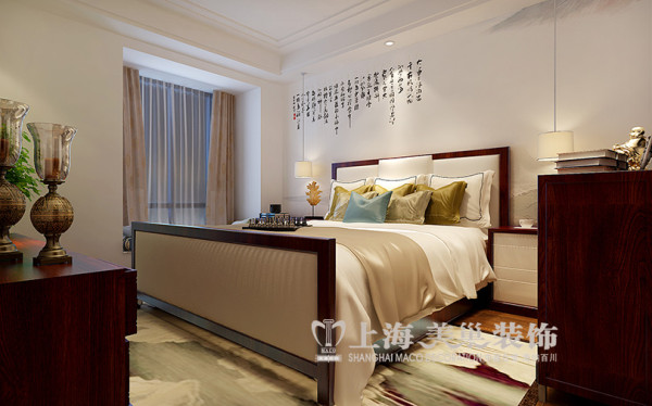 永威翡翠城150平方四室两厅新中式装修案例---卧室装修效果图