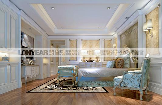 卧室并不是摆很多东西才温馨,宽敞的环境、柔和的灯光都是必不可少的元素。另外用金色壁纸作为点缀,使得整个房间有一种尊贵大气的感觉,让主人在休息放松之余更能享受到生活的品质。