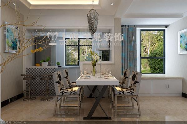 郡临天下三室两厅现代简约装修138平效果图案例——餐厅全景效果图