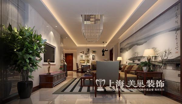 永威翡翠城150平方四室两厅装修效果图---客厅新中式风格装修效果图