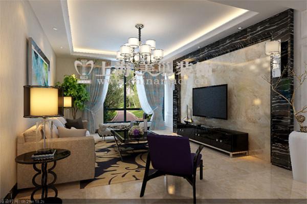 郡临天下138平三室两厅现代简约装修效果图案例——客厅全景效果图