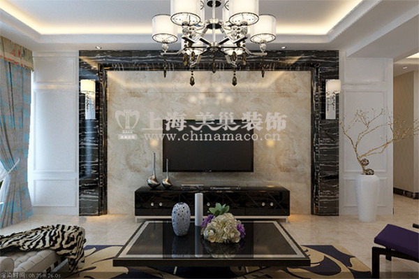 郡临天下138平三室两厅现代简约装修效果图案例——电视背景墙效果图