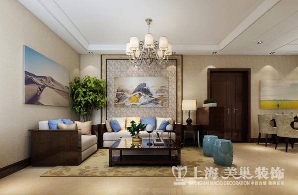 郑州昌建誉峰89平方两室两厅沙发墙装修效果图---宽大的石材线条,中式元素的壁纸使得整个空间统一中加一些对比,富有层次。