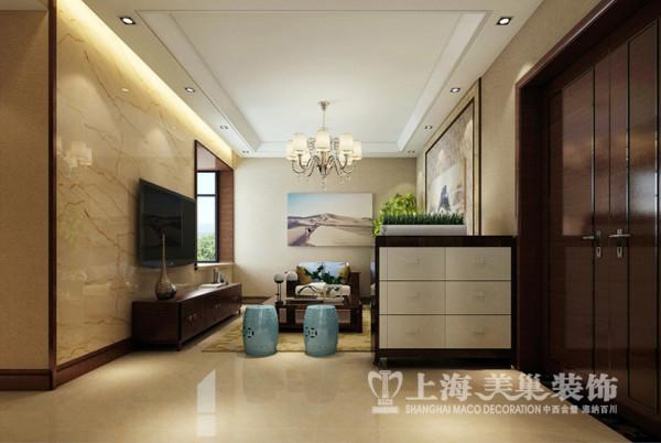 昌建誉峰89平方两室两厅新中式风格装修效果图---客厅,简单的吊顶,外翻灯池,坡面石膏线等元素使得整个空间整齐利索富有气质。