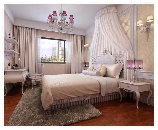 女儿房的增加了较多公主元素,展现小女儿情怀的公主式蚊帐、交相呼应的枣红色台灯与吊灯,构建一个完整的粉色空间。