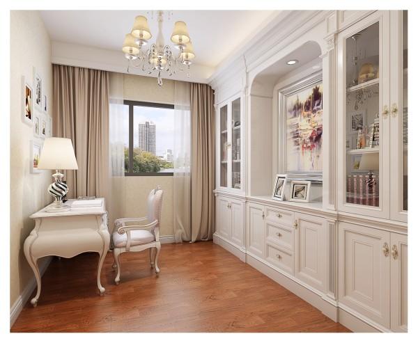 实木和皮质材料等新古典主义风格中常用的材料应用在书房内,纯白色调展现英伦情怀的纯正,同时对称的书架展现的是法式园林的规则之美。法式与英式风格的结合,增加了古典主义风格的纯粹性,更体现了别墅空间的雅致。