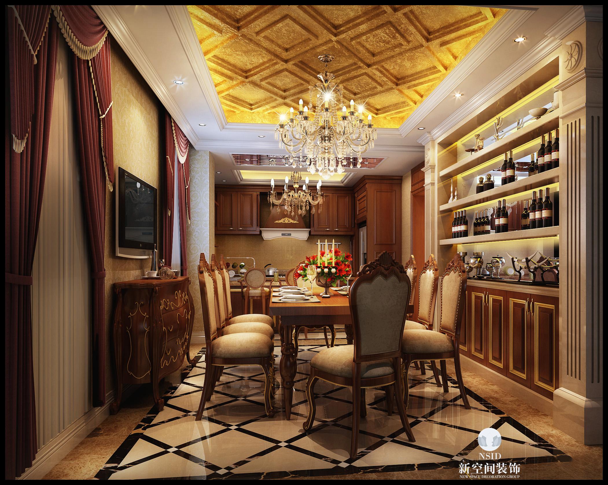 0 餐厅酒架 地面拼花 标签:                欧式           别墅图片