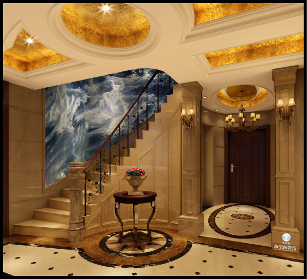 0 楼梯以及过道采用圆顶灯池 罗马柱 标签:                欧式图片