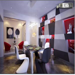 餐厅的不规则展示柜采用黑、白、灰、红、四色跳跃式的搭配,与休闲区的整体风格相呼应。