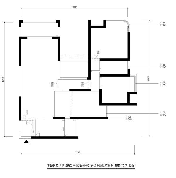 勤诚达22世纪 5栋02户型和6号楼01户型图原始结构图 3房2厅2卫 126m²