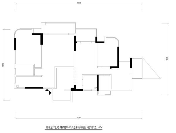 勤诚达22世纪 3栋B座01+02户型原始结构图 4房2厅2卫 147m²