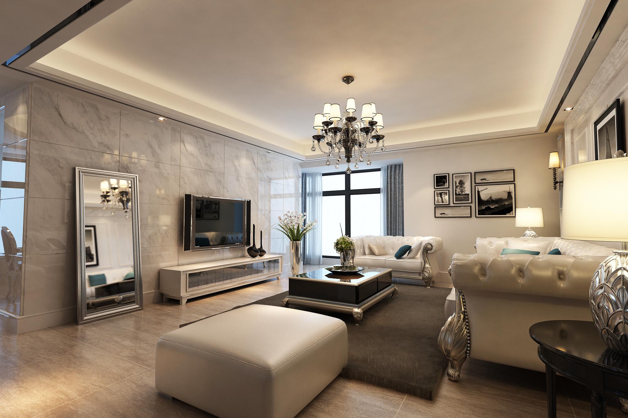 后现代风格平层大宅个性化装修客厅