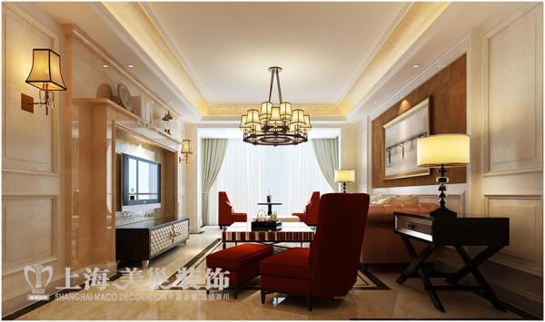 永威五月花城170平方四室两厅装修效果图---客厅简欧风格装修效果图