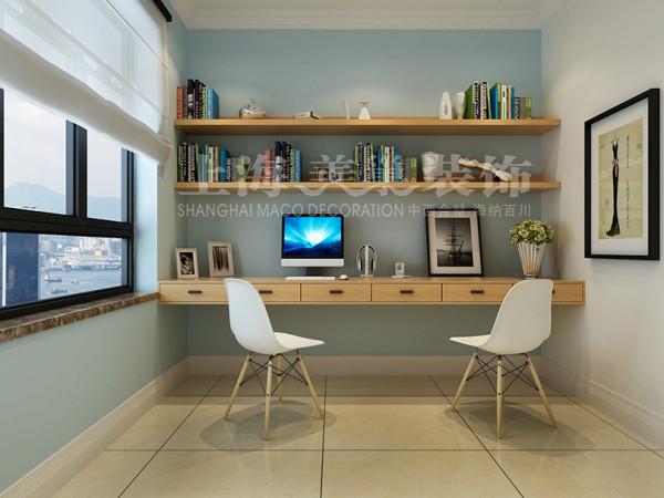 郑州建业二号城邦89平三室两厅现代简约装修效果图---书房装修案例
