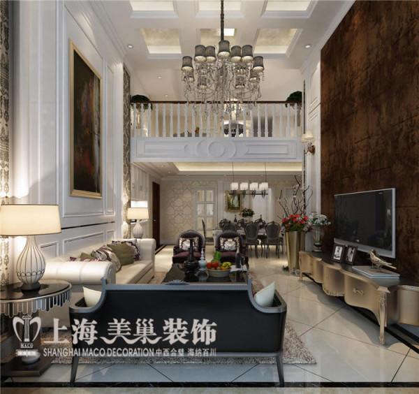 卢浮公馆189平四室两厅复式简欧风格装修样板间——电视背景墙装修效果图