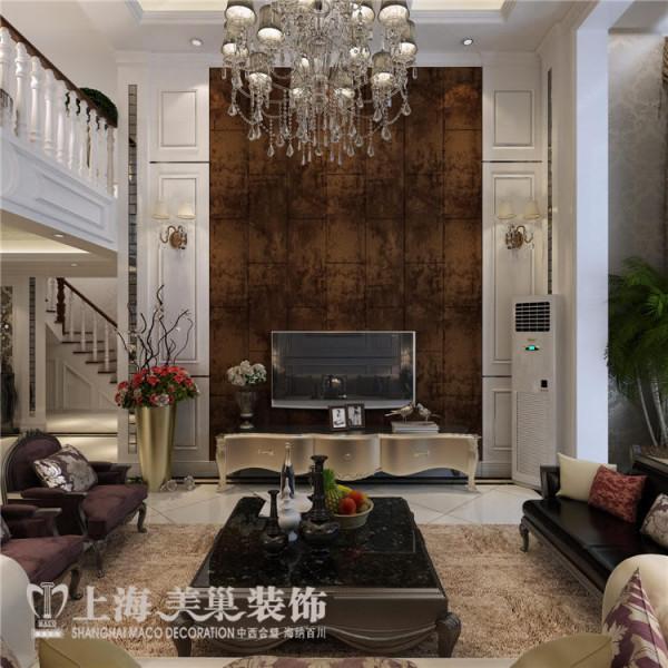 卢浮公馆189平复式简欧风格装修案例——客厅装修效果图