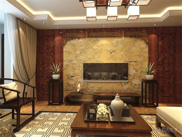 电视柜与电视背景墙都为木质结构,在电视背景墙中央选择了鸟、树的具有中国风特点的壁纸。