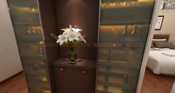 酒柜的出现也增加的整间屋子的亮点