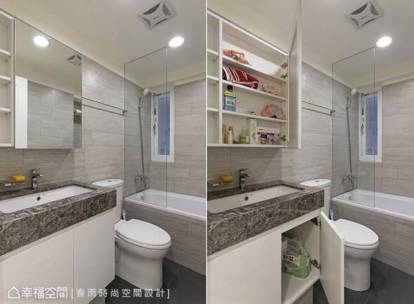 另以水泥墩构筑的洗脸台设计,具备安全性与好清洁的功能。