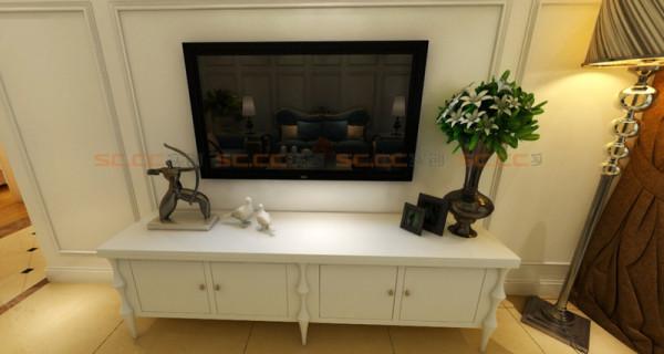 简单的背景墙和电视柜完美搭配