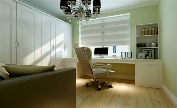 书房设计: 简欧风格沿袭古典欧式风格的主元素,融入了现代的生活元素。