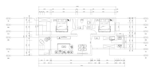 该户型连安里两室一厅一厨一卫80㎡,方正明亮,适于设计。