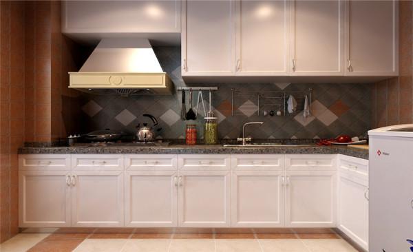 厨房设计: 厨房采用的是复古的墙砖与集成吊顶的搭配,使整个 厨房显得干净大方。