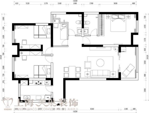 卢浮公馆120平3室2厅简欧风格装修户型图