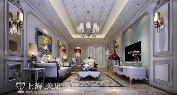 卢浮公馆120平三室两厅简欧风格装修案例——客厅装修效果图