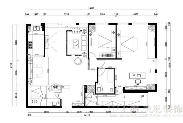 上都国际180平米三室两厅装修案例户型图及平面布局方案