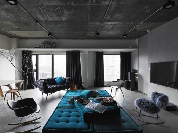 设计师保留了建筑原先的水泥屋顶,并且以此为基础完成了整个寓所的改造。