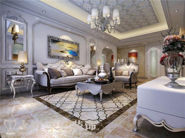 卢浮公馆120平三室两厅简欧风格装修样板间——沙发背景墙装修效果图