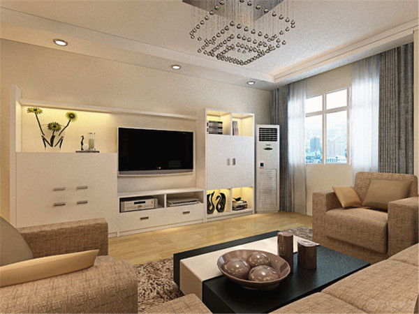 沙发背景墙的用简洁的两幅画进行装饰,现代风格流行的隔板进行修饰,电视背景墙则采用柜式嵌入,即可以摆放物品,又可以进行装饰,实用功能比较完善。