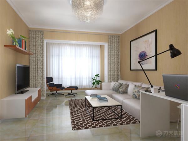 客厅的电视墙很短为了视觉上的平衡在电视墙对应的位置放置一个L形转角沙发,将左侧的空间空余出来放置一个书桌增加了空间的功能也达到空间视觉上的饱满均衡。