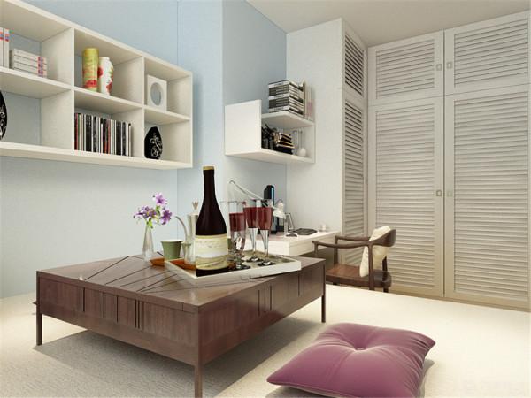 室内设置了榻榻米、书桌,整个空间给人一种自然,原生,舒适,温暖的感觉。
