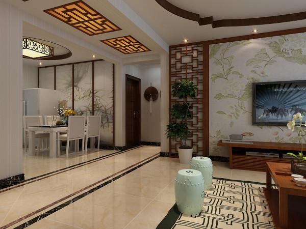 走廊顶部方案二设计效果 这里的餐厅和客厅垭口位置用白色墙漆直接过渡处理,走廊顶部位置的吊顶为平顶,加以中式风格的吊顶灯进行装饰,在造价方面方案二要低于方案一